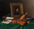 Fine Art - Painting, American:Antique  (Pre 1900), WILLIAM MICHAEL HARNETT (American, 1848-1892). Still Life with Portrait by Raphael, 1878. Oil on canvas. 28 x 34-1/4 inc... (Total: 2 Items)
