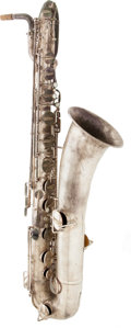 Musical Instruments:Horns & Wind Instruments, 1920 Buescher Low Pitch Silver Baritone Saxophone, Serial # 142650....