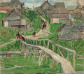 Fine Art - Painting, Russian:Other, LEON GASPARD (Russian/American, 1882-1964). Bridge in RussianVillage. Oil on board. 9 x 10 inches (22.9 x 25.4 cm). Sig...