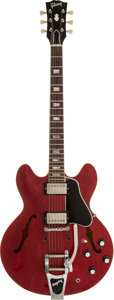 Musical Instruments:Electric Guitars, 1963 Gibson ES-335 Cherry Semi-Hollow Body Electric Guitar, Serial# 142472....