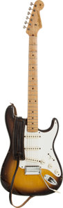 Musical Instruments:Electric Guitars, 1958 Fender Stratocaster Sunburst Solid Body Electric Guitar,Serial # 023118....