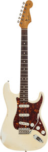 Musical Instruments:Electric Guitars, 1966 Fender Stratocaster Olympic White Solid Body Electric Guitar,Serial # L81765....