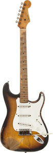 Musical Instruments:Electric Guitars, 1954 Fender Stratocaster Sunburst Solid Body Electric Guitar,Serial # 0618....