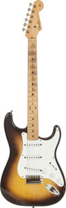 Musical Instruments:Electric Guitars, 1956 Fender Stratocaster Sunburst Solid Body Electric Guitar,Serial # 15754....