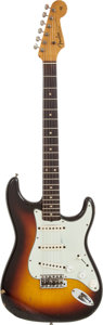 Musical Instruments:Electric Guitars, 1963 Fender Stratocaster Sunburst Solid Body Electric Guitar,Serial # 95701....