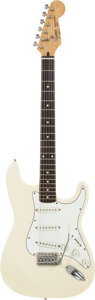 Musical Instruments:Electric Guitars, 1980's Fender Squire MIK Stratocaster White Solid Body ElectricGuitar, Serial # E919618....