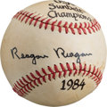 "Baseball Collectibles:Balls, 1984 Ronald ""Reagan Reagan"" Single Signed Baseball. ..."