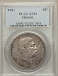 Coins of Hawaii: , 1883 $1 Hawaii Dollar XF45 PCGS. PCGS Population (169/265). NGCCensus: (65/209). Mintage: 500,000. ...
