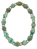 Estate Jewelry:Necklaces, Turquoise, Sterling Silver Necklace. ...