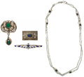 Estate Jewelry:Necklaces, Lapis Lazuli, Cultured Freshwater Pearl, Azure-Malachite, SilverJewellery. ... (Total: 4 Items)