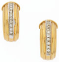 Estate Jewelry:Earrings, Diamond, White Gold, Gold Earrings. ...