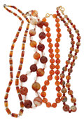 Estate Jewelry:Necklaces, Carnelian, Silver Gold Necklaces. ... (Total: 4 Items)