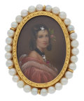 Estate Jewelry:Brooches - Pins, Cultured Pearl, Painted Porcelain, Gold Brooch. ...
