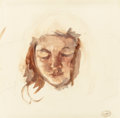 Fine Art - Work on Paper:Watercolor, MARY CASSATT (American, 1844-1926). Portrait Study of YoungGirl. Watercolor and pencil on paper. 10-1/2 x 10-1/2 inches...