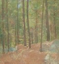 Fine Art - Painting, American:Modern  (1900 1949)  , EMIL CARLSEN (American, 1853-1932). In the Pine Woods, circa1915. Oil on canvas stretched over masonite. 29 x 27 inches...