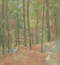 EMIL CARLSEN (American, 1853-1932) In the Pine Woods, circa 1915 Oil on canvas stretched over masoni