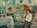 Fine Art - Painting, American:Modern  (1900 1949)  , ERNEST LAWSON (American, 1873-1939). Artist's Wife and Daughteron a Porch. Oil on panel. 12 x 16 inches (30.5 x 40.6 cm...