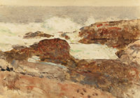 CHILDE HASSAM (American, 1859-1935) Isles of Shoals, circa 1890-92 Watercolor on paper 10 x 14 in