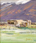 American:Western, WALTER GONSKE (AMERICAN b. 1942). Taos Adobes. Oil oncanvas. 12in. x 10in.. Signed lower right. On the reverse: signed...