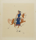 American:Western, BEATIEN (Little No Shirt) YAZZ (American b. 1928). Untitled(Navaho Maiden and Pinto). Gouache on paper. 19.25in. x 17in...
