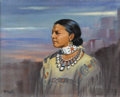 American:Western, GRACE MAY BETTS (American 1883-1978). Indian Woman. Oil oncanvas laid on board. 28in. x 35in.. Signed lower left. ...