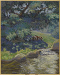 American:Hudson River School, AMERICAN SCHOOL (Early 20th Century). Cattle Grazing. Oil oncanvas. 20in. x 16in.. ...