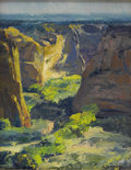 American:Western, W. SCOTT JENNINGS (American b. 1952). Canyon Walls, 1996.Oil on canvasboard. 8in. x 10in.. Signed lower right. Scott ...