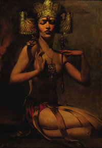 ANSELMO MIGUEL NIETO (Spanish 1881-1964) Exotic Beauty, c.1920 Oil on canvas 40in. x 32in. (sight size) Signed lower