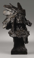 American:Western, CHARLES HUMPRISS (American 1867-1934). Indian Chief with Feathered Headdress. Bronze. 12in. x 6in. x 4.5in.. Signed on r...