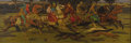 Illustration:Books, ROBERT van VORST SEWELL (American 1860-1924). Medieval HuntingScene. Oil on canvas. 22in. x 65.5in.. Signed with initia...