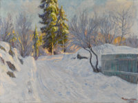 THOROLF HOLMBOE (Norwegian 1866-1935) Snow Scene, 1918 Oil on canvas 29.5in. x 29.5in. Signed and dated lower right&...