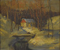 American:Impressionism, WALTER EMERSON BAUM (American 1884-1956). Mill in the Snow.Oil on board. 10in. x 12in.. Signed lower right. ...