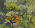 American:Impressionism, Attributed to WALTER EMERSON BAUM (American 1884-1956). RedMill. Oil on board. 16in. x 20in.. ...