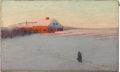 American:Impressionism, BIRGE HARRISON (American 1854-1929). The Red House. Oil oncanvas. 18in. x 30in.. Signed lower right. Famous for his T...
