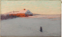BIRGE HARRISON (American 1854-1929) The Red House Oil on canvas 18in. x 30in. Signed lower right  Famous for his T