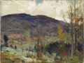 American:Impressionism, CHAUNCEY FOSTER RYDER (American 1868-1949). Purple Hills.Oil on canvas. 12in. x 16in.. Signed lower left. Loosely pai...