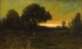 American:Impressionism, WESLEY ELBRIDGE WEBBER (American 1841-1914). Sunset. Oil oncanvas. 12in. x 20in.. Signed lower right. ...