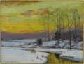 American:Impressionism, BRUCE CRANE (American 1857-1937). Winter Stream, 1912. Oilon canvas. 13in. x 17in.. Signed and dated lower left: ...