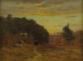 American:Impressionism, JOHN JOSEPH ENNEKING (American 1841-1916). November Sunset, HydePark, 1876. Oil on board. 9.75in. x 12.75in.. Signed an...