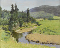 FRANK VINCENT DUMOND (American 1865-1951) The Brook (A Tributary of the Margaree River, Nova Scotia) Oil on canvas 24