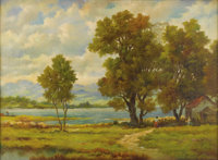 HENRY T. HARVEY (American 19th Century) Landscape Oil on canvas 28in. x 38.5in. Signed lower right