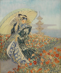 EVERETT LLOYD BRYANT (American 1864-1965) Japanese Woman in Flower Garden Oil on canvas 30in. x 25in. Signed lower r