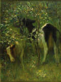 American:Impressionism, FRANCIS LUIS MORA (American 1874 - 1940). Two Cows in FloweringBushes, 1913. Oil on canvas. 48in. x 36in.. Signed and d...
