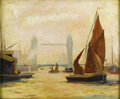 American:Impressionism, JOHN DOOLEY (American 19th-20th Century). Boats on theThames. 20in. x 24in.. Signed lower right. ...