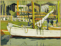 JANE PETERSON (American 1876-1965) Gloucester Harbor Oil on canvas 18.4in. x 24in. Signed lower right  Jane Peters