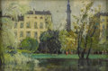 American:Impressionism, HAYLEY LEVER (American 1876 - 1958). Duke of York Statue, St.James Park, London. Oil on canvas. 6.5in. x 9.25in.. Signe...