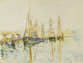 Paintings, HAYLEY LEVER (American 1876-1958). Schooners, Gloucester, Mass.. Watercolor on paper. 14.75in. x 19.25in.. Signed lower ...