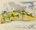 American:Impressionism, HAYLEY LEVER (American 1876-1958). The Club House atMarblehead. Watercolor on paper. 16.5in. x 20in.. Signed lowerleft...