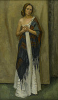 American:Impressionism, GERALD VIVIAN DAVIS (American 1899-1987). Woman in a Shawl. Oil on canvas. 63in. x 37in.. Signed lower right. ...