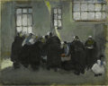 Fine Art:Paintings, MARTHA WALTER (American 1875- 1976)) Inside the Market, BrittanyOil on canvasboard 13in. x 16in. Stamped with estate st...